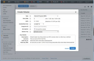Creating a volume in AWS EC2: ensure the AZ is the same as your instance